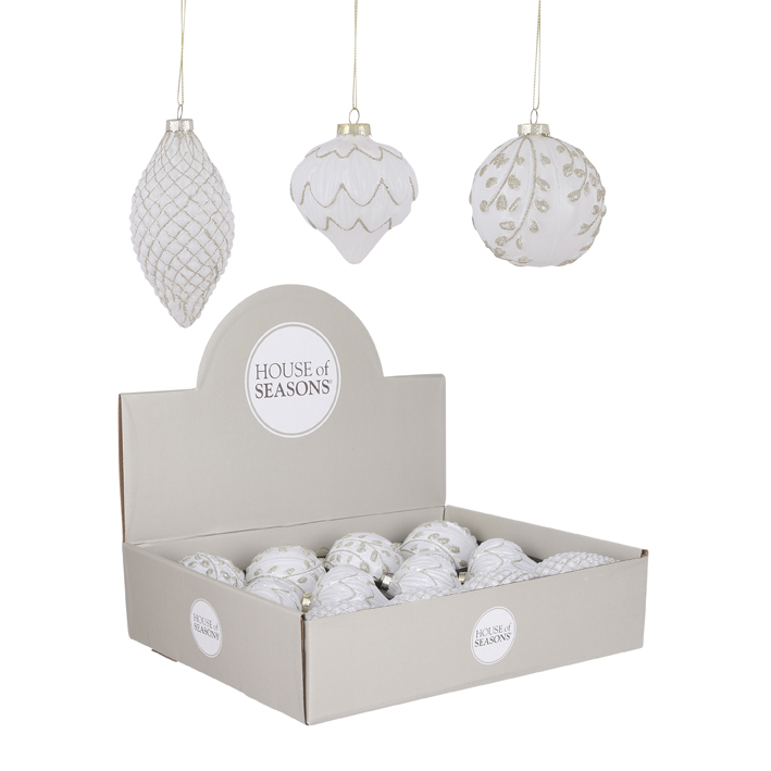 Bauble glass white 3 assorted display 8cm