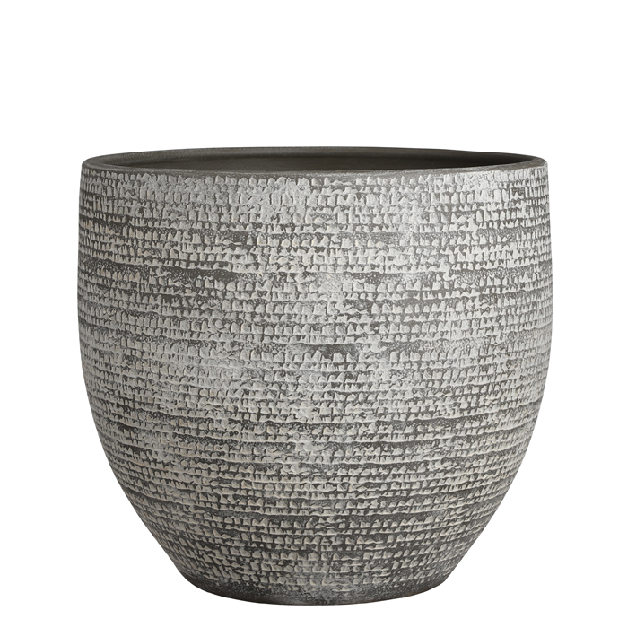 Carrie pot round grey h32xd35cm